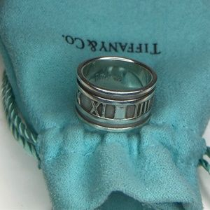 Tiffany ATLAS Roman Numeral Wide Band Ring 4.75